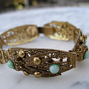 Early 1900's Czech faux Turquiose Filigree Bracelet