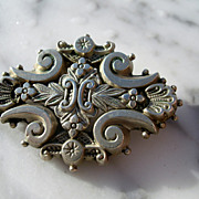 Silver European Lovely Scrolls , Flowers and Feathers Pin