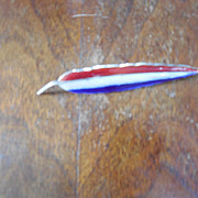 Large Red White and Blue  Leaf Sterling Silver Brooch