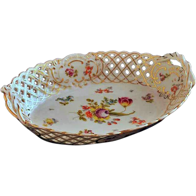 Antique Reticulated Porcelain Oval Bowl Tyndale, Mitchell & Co. Mark- 19th Century