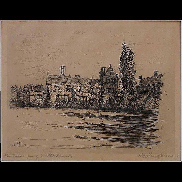 Original Antique Etching of Country House by Philadelphia artist Harry Hampshire Signed Presentation Proof - 1911, Philadelphia USA