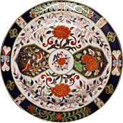 Antique Royal Crown Derby Birds Chrysanthemums Pattern N°198 Dinner Plate - late 19th Century, England