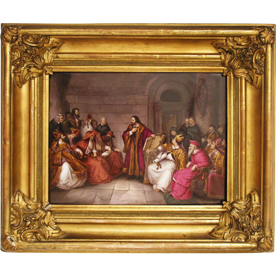 KPM Porcelain Plaque Painting of Jan Hus at Constance Council after Karl Friedrich Lessing