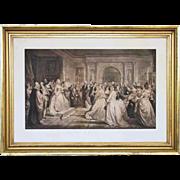 Lady Washington's Reception Day Antique Framed Large Engraving - 19th Century, USA
