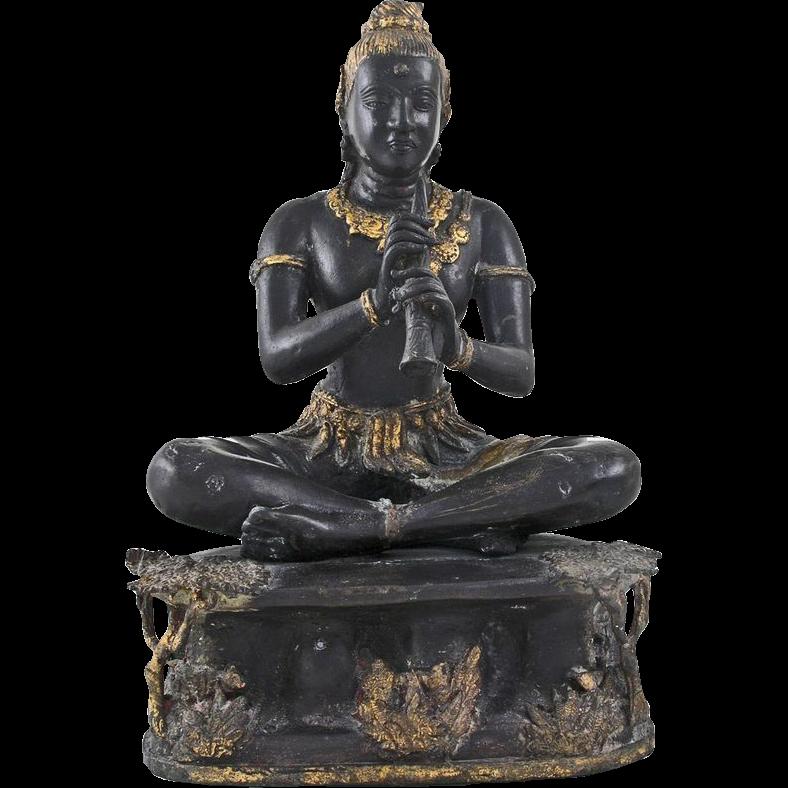 Hindu God Lord Krishna Metal Figure Sculpture Flute Large