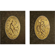 Pair of Austrian Gilt Relief Wall Plaques Mythology Allegorical Signed by Artist Karl Sterrer - c. 1890, Austria