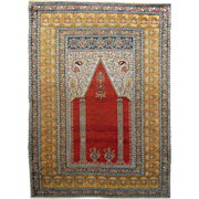 Antique Turkish Prayer Rug / Carpet - c. late 19th Century, Turkey