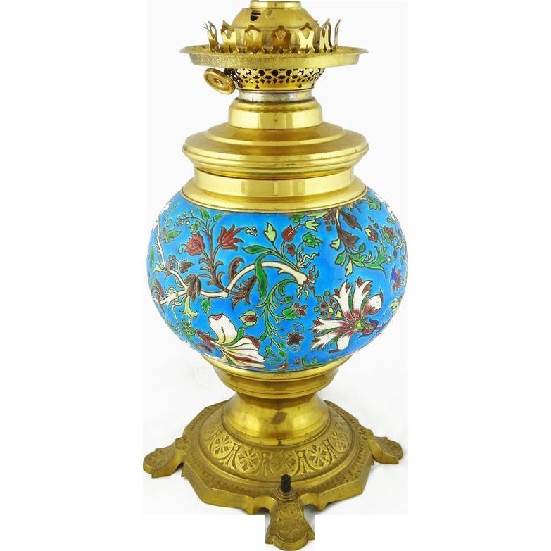 Longwy Enamel Faience and Bronze Lamp Base - c. 1900's, France