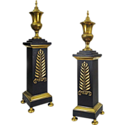 Pair Classical Andirons Black Bronze Federal Style Laurel Leaf