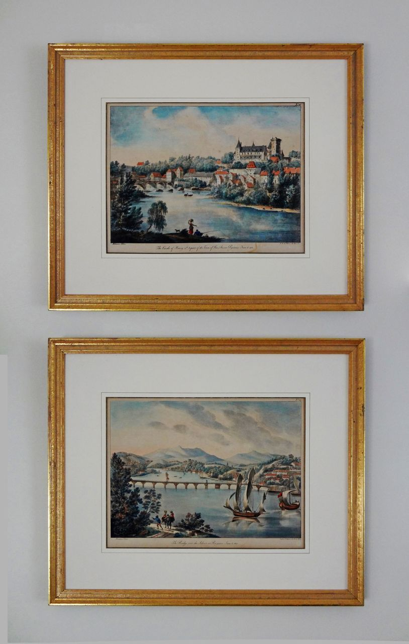 Pair Early French Landscape Lithographs by Marianne Colston - early 19th Century, England