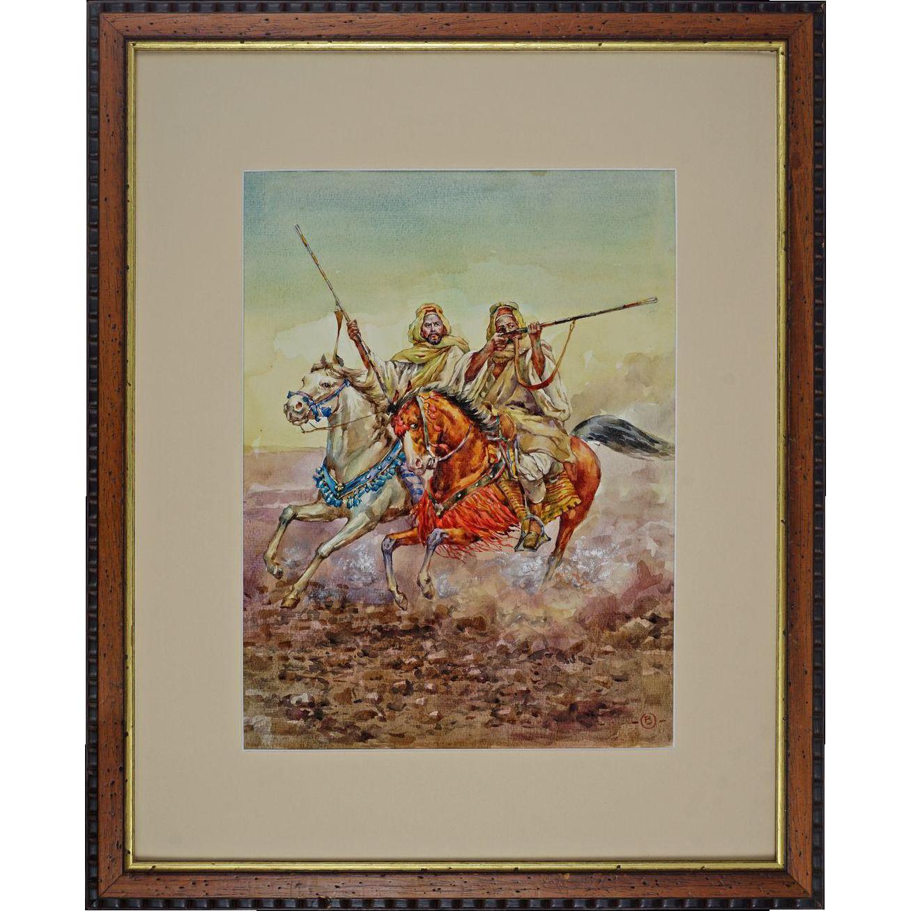 "Watercolor after Giulio Rosati ""Fantasia"" Moroccan Horsemen at Full Gallop Signed Artist's Monogram"