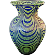 "Kralik 7""H Art Glass Green Blue Pulled Loop Vase - c. 20th Century, Bohemia"