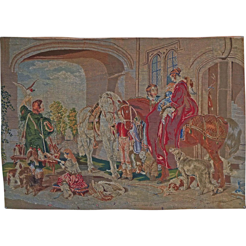 """Large 63""""x45"""" Needlepoint Tapestry / Wall Hanging English Hunt Scene after Sir Edwin Landseer- c. 19th Century, France"""