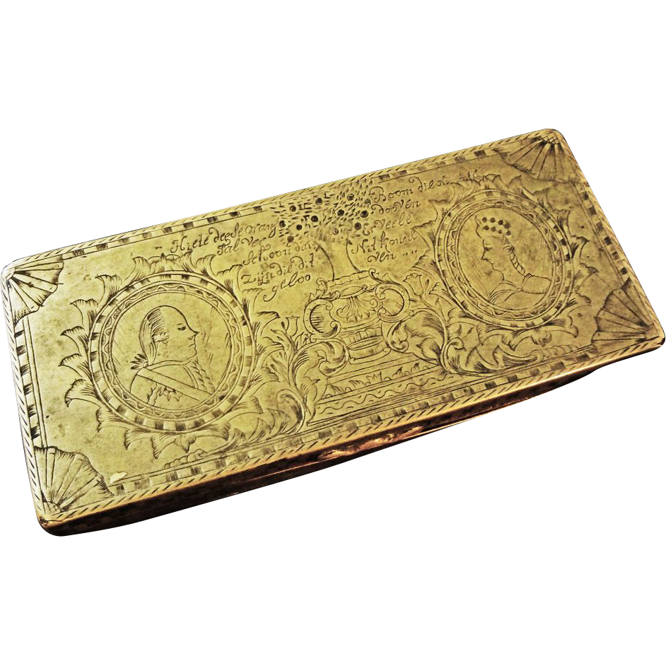 18th C. Dutch Tobacco Box Orangist Commemorative Engraved William V and Wilhemina Dated - c. 1787, Netherlands