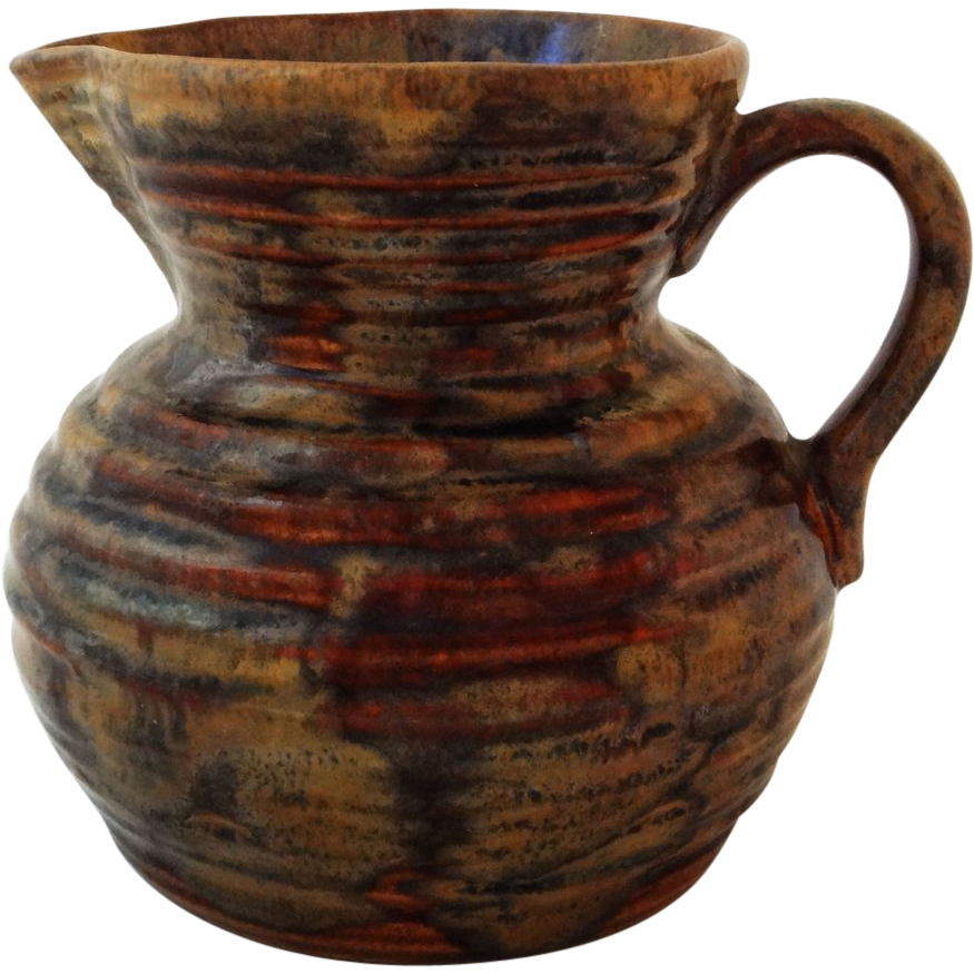 Fulper  Colonial Revival Ribbed Pitcher Brown - 1922 to 1928, USA