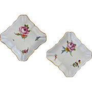 Pair Early Antique Meissen Square Floral Bowls Crossed Swords Star - c.19th Century, Germany