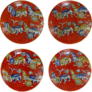 Set of 4 Antique Red Chinoiserie English Ashworth Ironstone Cups and Saucers - 1862 to 1880, England