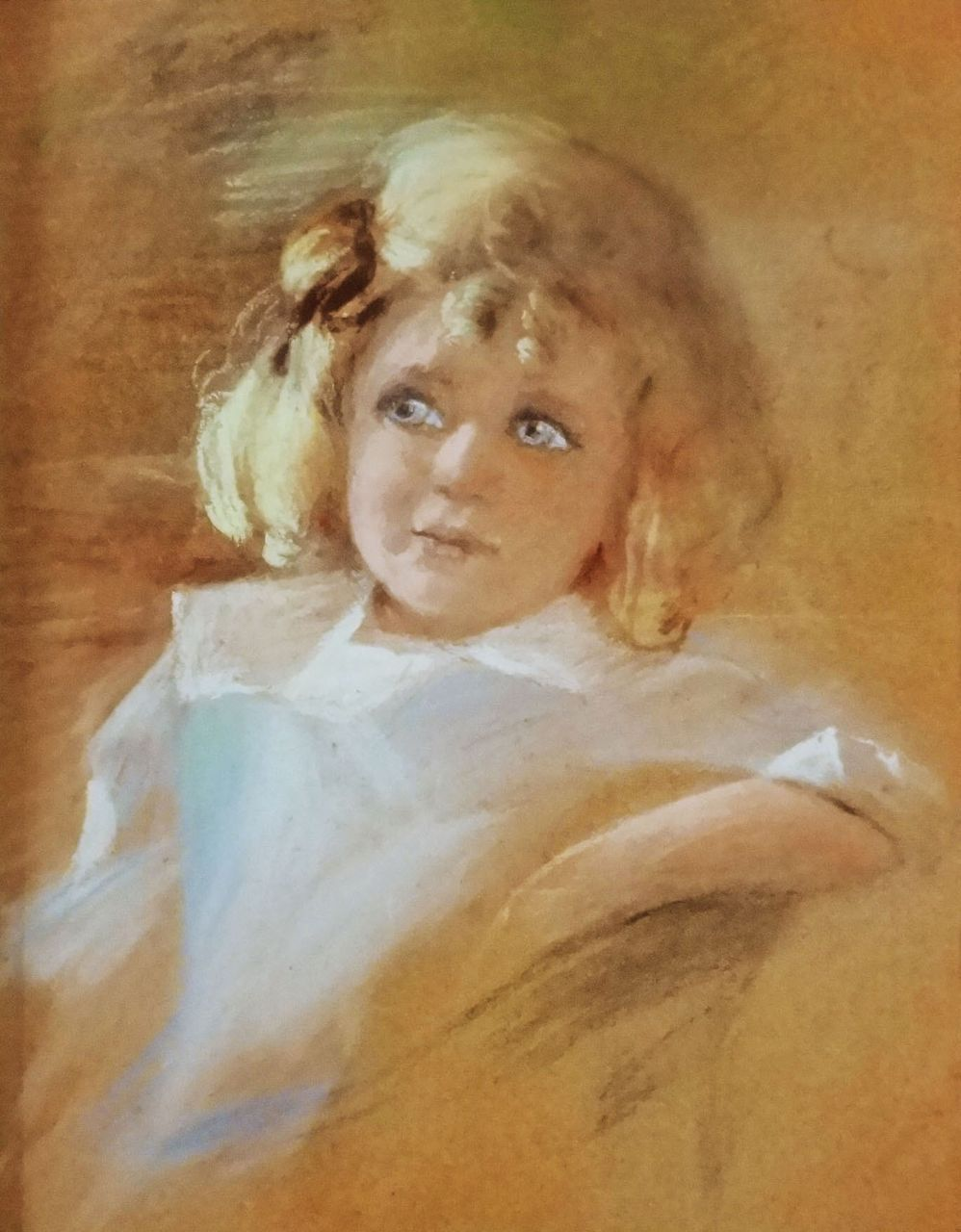 Pastel Drawing Portrait Little Girl in Deep Walnut Antique Frame - 19th/20th Century, USA