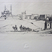 Original Old Jerusalem Pencil Signed Etching - c. 1930's. Cairo