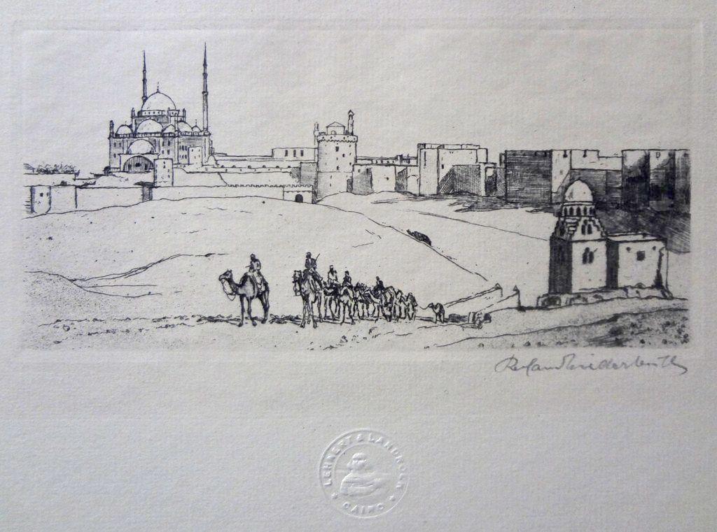 Original Old Jerusalem Pencil Signed Etching - c. 1930's. Cairo