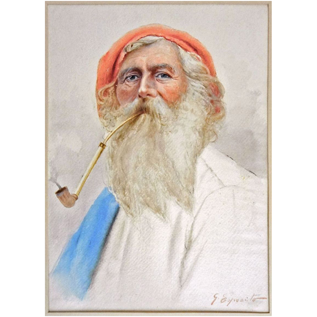 Antique Watercolor Portrait of Maltese Fisherman in Red Cap Smoking a Pipe signed G. Esposito - c. 19th/20th Century, Italy