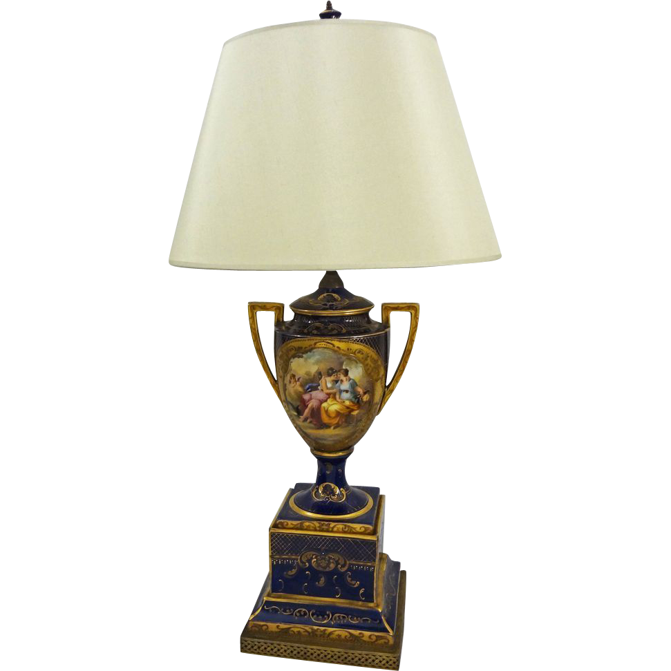 Vienna Style Goddess Diana Signed Porcelain Urn Fitted as Lamp - c. 19th Century, Austria