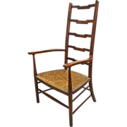 Arts and Crafts Movement Style Ladder Back Arm Chair Rush Seat  - c. 20th Century, England