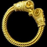 Ram's Head Twisted Body Bracelet Jewelry after Ancient Greek Design - 20th Century, USA