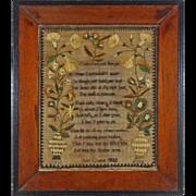Large Antique Floral Vines Silk on Linen Needlework Child's Prayer Framed