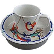 Tiffany & Co. Seashore  Child's Mug & Bowl Set Multicolor Beach Scene - 20th Century