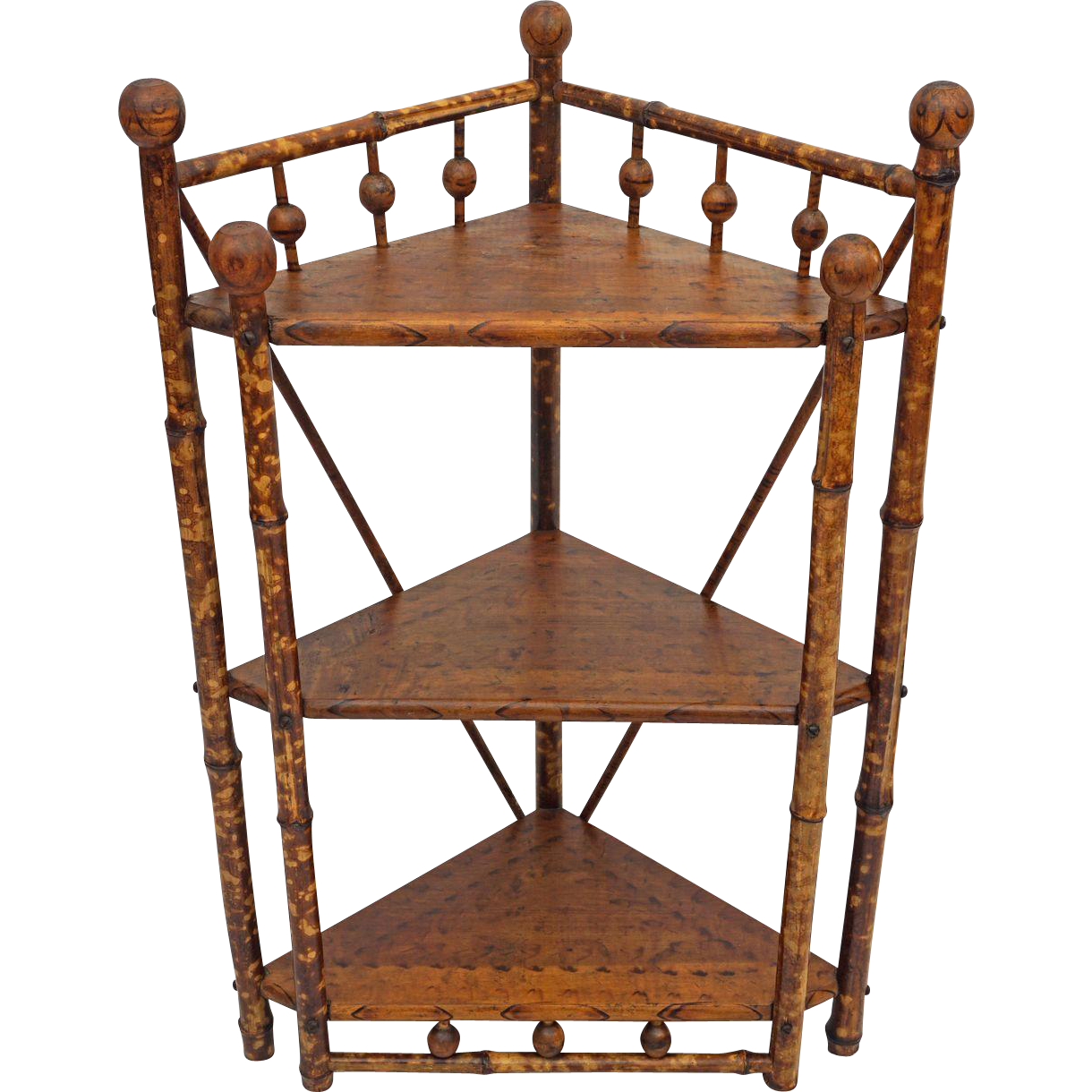 British Colonial Style Stick and Ball Corner Etagere / Stand / Shelves - c. 1900's, England