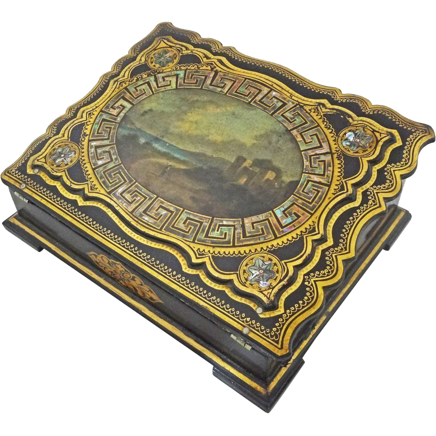 antique papier mache ladies writing slope escritoire seascape 19th from aa on ruby lane. Black Bedroom Furniture Sets. Home Design Ideas