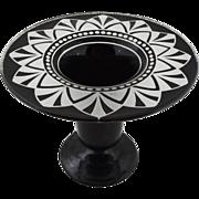 Art Deco Era Tall Glass Vase Geometric Black White Large Flat Rim - c. 1920's, USA