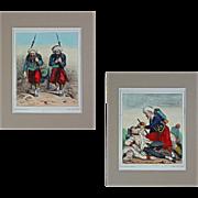 Pair Crimean War Caricature Lithographs French Zouave Elite Forces Jules J. A. Baric - c. 1859, France