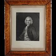 Portrait Daniel Twining Lithograph in Birdseye Maple Frame Antique - 19th Century, England