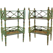 Pair Chelsea House Painted Stands Side Tables Two Tier Pale Green Floral Distressed