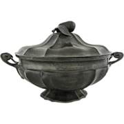 Large Pewter Lidded Handled Tureen Pears Finial Touch Marks