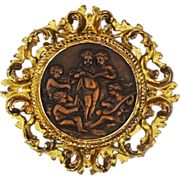 Copper Relief Putti Round Plaque Florentine Gilt Frame - 19th Century, Continental