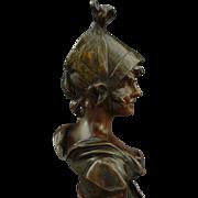 Art Nouveau Petit Bronze Bust Sculpture signed van der Straeten - c. 1900's, France