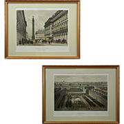 Pair Paris Lithographs Colonne de la Grande Armee and Palais Royal - c. 19th Century, France