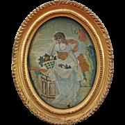 Silkwork Needlework Picture Allegory of Summer Oval Gilt Frame