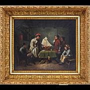 Oil on Canvas German Genre Painting The Pilot Exam  ( Das Lotsen-Examen )