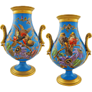Pair Old Paris Porcelain Japonisme Vases Turquoise Ground Incised Birds Faux Champleve - c. 1880, France