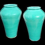 Pair Japanese Monochrome Turquoise Glaze Pottery Vases Awaji Style - 20th Century, Japan