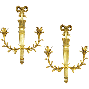 Pair Classic Gilt Carved Wood and Tole Italian Sconces Two Light - 20th Century, Italy
