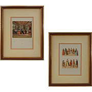 Pair Dutch Costumes / Interior Color Lithographs - 19th Century, France