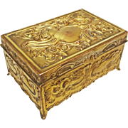 Jennings Brothers Rectangular Gilt Bronze Casket JB 752 - c. 1900's, USA