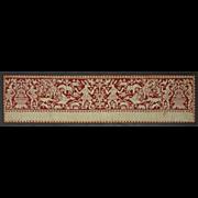 Italian Renaissance Embroidery Panel Valance Border Red Silk Thread on Linen  - circa 17th Century, Italy