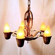 Vintage Cast Iron Historic Revival 1920's 5 Bulb Fixture