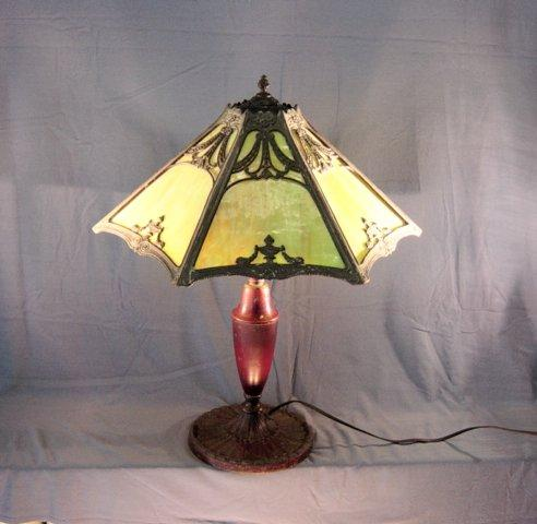 Antique  Art Glass Lamp 5 Panels In Roman Deco Styling